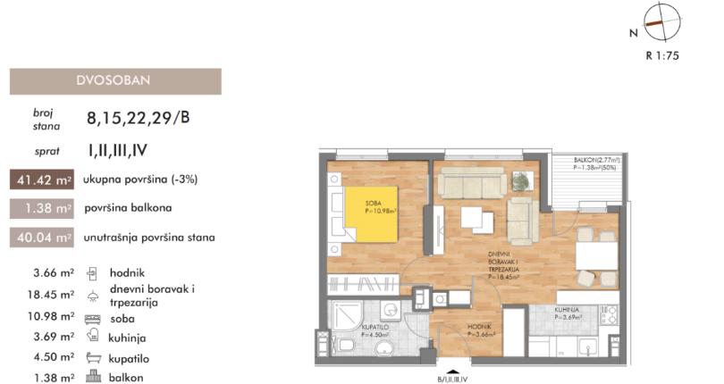 Prodaja stanova od 42  i 45 m2, Lauš