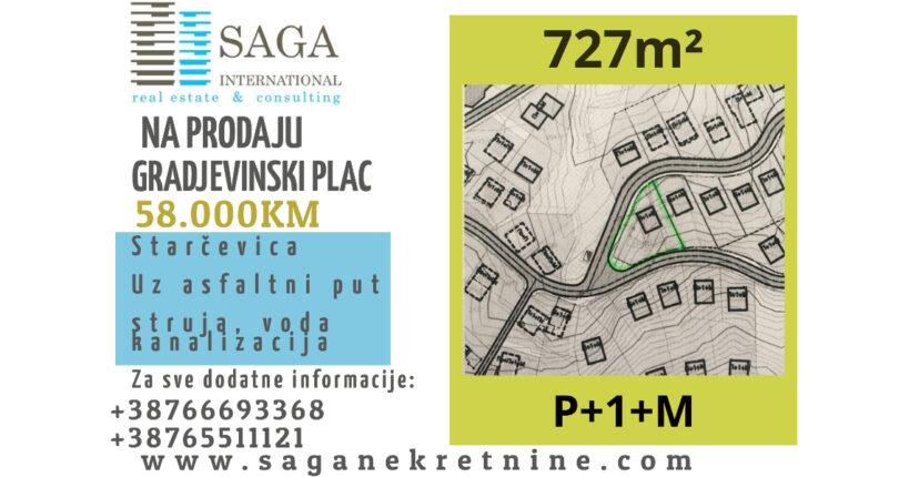 NA PRODAJU gradjevinski plac 727m² STARCEVICA