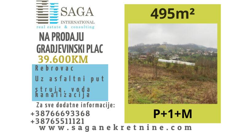 Na prodaju GRADJEVINSKI PLAC 495m² Rebrovac