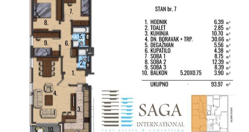 Četvorosoban stan u izgradnji 93m² Centar